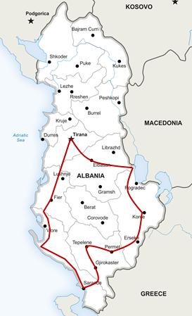 Landkarte mit Route der Honig-Pfad Südtour