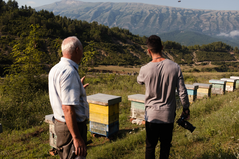 Filmteam vor einer Reihe von Bienenstöcken auf einer Wiese in Permet