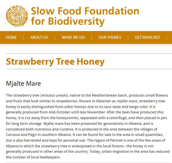 Screenshot der Webseite der Slow Food Foundation
