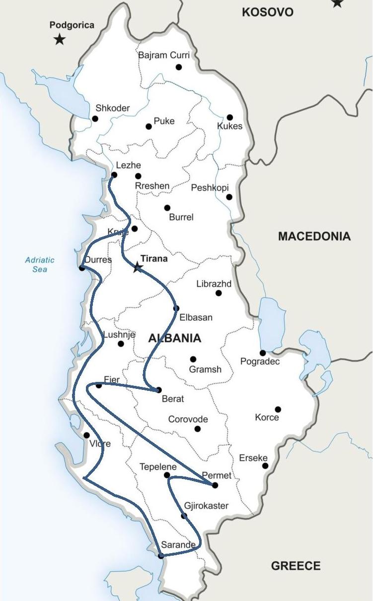 Karte, die die Route zeigt.